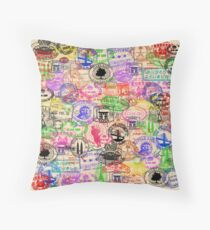 Vintage Passport Stamps  Throw Pillow