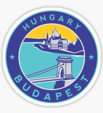 Budapest Chain Bridge, circle blue Sticker