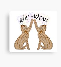 We-Wow High fiving cats Canvas Print