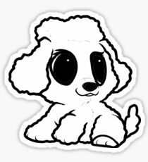 poodle white cartoon Sticker