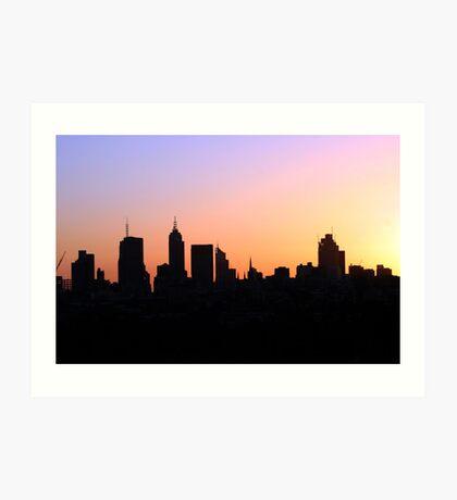 Cityscapes - Melbourne skyscaper silhouettes  Art Print