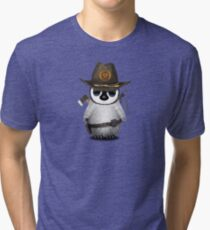 Baby Penguin Zombie Hunter Tri-blend T-Shirt
