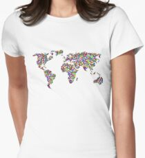 ButterFly world peace and freedom Womens Fitted T-Shirt