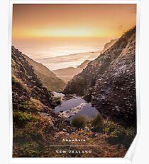 Sunset over Anawhata Beach  Poster