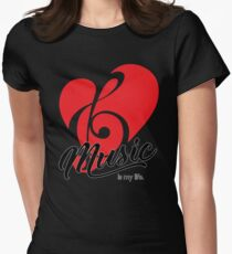 Music is My Life 3 Color Print Womens Fitted T-Shirt