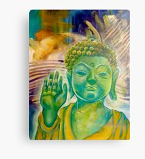 Buddha in Green Golds Canvas Print