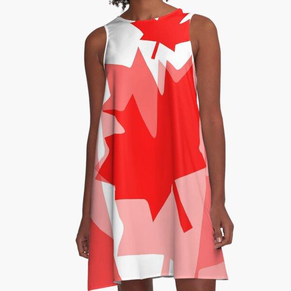 A Canadian Flag Wave A-Line Dress