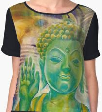 Buddha in Green Golds Chiffon Top