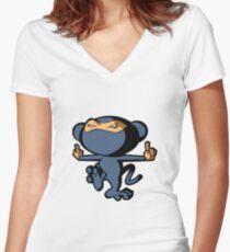 Monkey Ninja Women's Fitted V-Neck T-Shirt