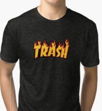 """Trash"" in Thrasher letters Tri-blend T-Shirt"