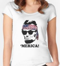 Funny Abe Lincoln 'Merica Shirt: Patriotic, Hip, & American! Women's Fitted Scoop T-Shirt