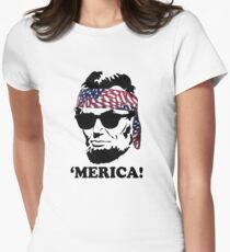 Funny Abe Lincoln 'Merica Shirt: Patriotic, Hip, & American! Womens Fitted T-Shirt