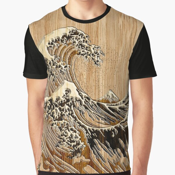 The Great Hokusai Wave in Bamboo Inlay Style Graphic T-Shirt