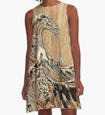 The Great Hokusai Wave in Bamboo Inlay Style A-Line Dress