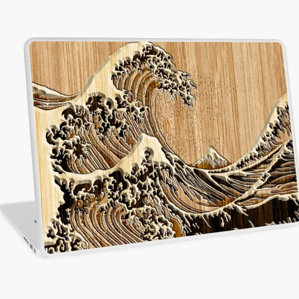 The Great Hokusai Wave in Bamboo Inlay Style Laptop Skin