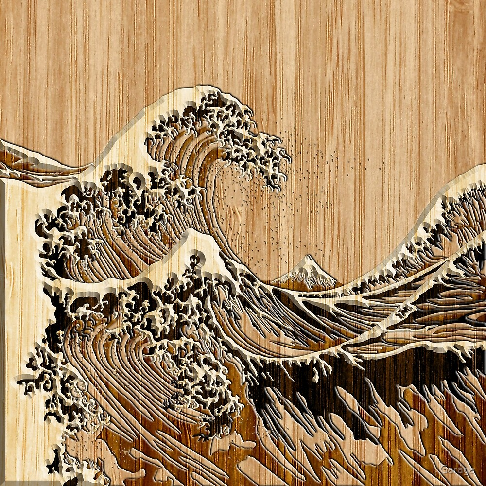 The Great Hokusai Wave in Bamboo Inlay Style by Garaga