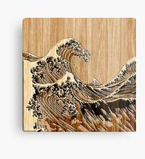 Die große Hokusai-Welle im Bambus-Inlay-Stil Metallbild