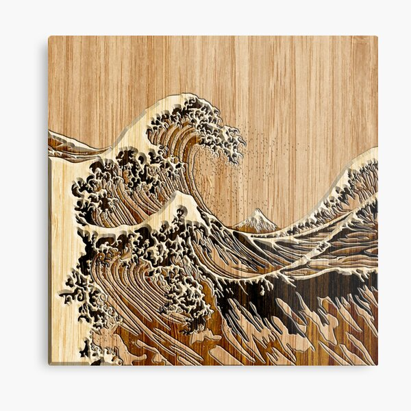 The Great Hokusai Wave in Bamboo Inlay Style Metal Print