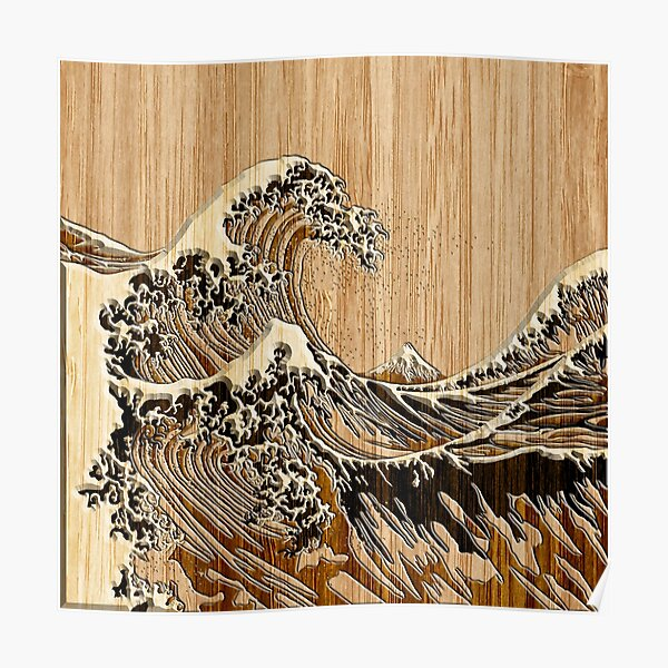 The Great Hokusai Wave in Bamboo Inlay Style Poster