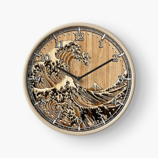 The Great Hokusai Wave in Bamboo Inlay Style Clock