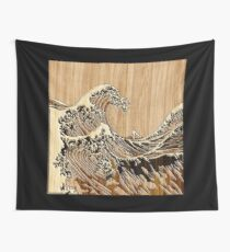 The Great Hokusai Wave in Bamboo Inlay Style Wall Tapestry