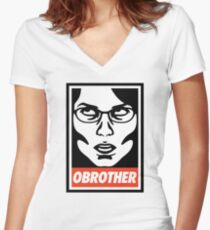 OBROTHER Women's Fitted V-Neck T-Shirt