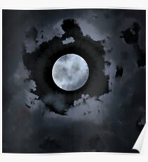 Cloudy Midnight Moon Poster