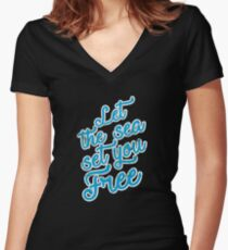 Let The Sea Set You Free Women's Fitted V-Neck T-Shirt