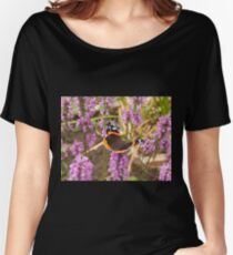 Red Admiral on Pink Wildflowers Women's Relaxed Fit T-Shirt