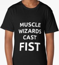 Muscle wizards cast FIST - white text Long T-Shirt