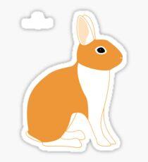 Orange White Eared Rabbit Sticker