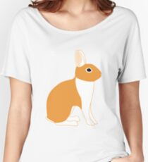 Orange White Eared Rabbit Women's Relaxed Fit T-Shirt