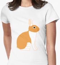 Orange White Eared Rabbit Womens Fitted T-Shirt