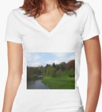 The River Aln, Alnwick Women's Fitted V-Neck T-Shirt