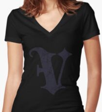 "Dark Grunge Monogram Letter ""V"" Blackletter TShirt Women's Fitted V-Neck T-Shirt"