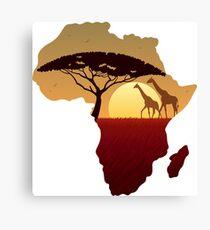 Africa Map Landscape Canvas Print