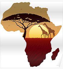 Afrika-Karten-Landschaft Poster