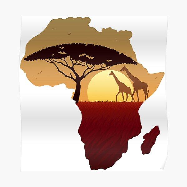 Africa Map Landscape Poster