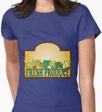 Fresh Produce Signage Illustration Womens Fitted T-Shirt