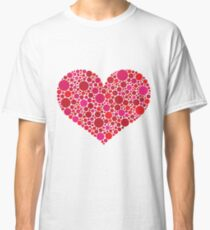 Valentines Day Heart in Pink and Red Dots Classic T-Shirt