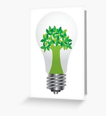 Light Bulb with Eco Tree Illustration Greeting Card