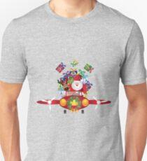 Santa and Reindeer Flying in Vintage Plane Unisex T-Shirt
