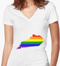Kentucky Pride! Women's Fitted V-Neck T-Shirt
