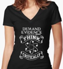 Demand Evidence And Think Critically Shirt Women's Fitted V-Neck T-Shirt
