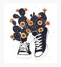 Sneakers with cactus Photographic Print