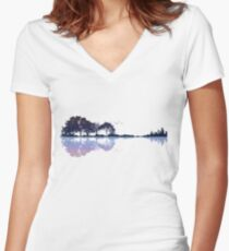 Nature Guitar Women's Fitted V-Neck T-Shirt