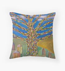 knitted tree Throw Pillow