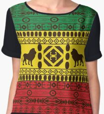 African Traditional Pattern Lions big rasta  Chiffon Top