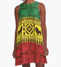 African Traditional Pattern Lions big rasta  A-Line Dress