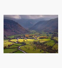 Rosthwaite in Borrowdale from Castle Crag  Photographic Print